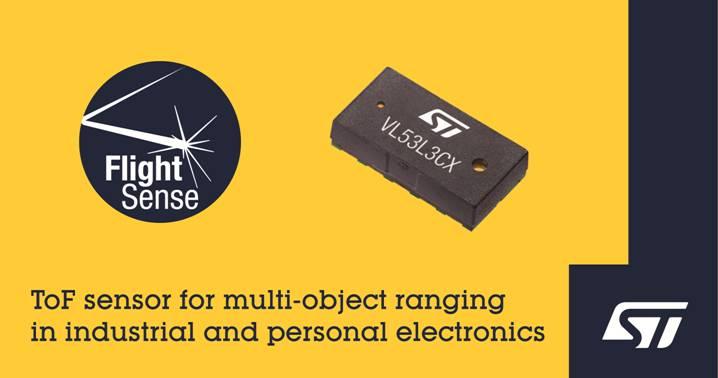 意法半导体推出最新的飞行时间传感器,为下一代工业和个人电子设备带来多目标测距功能