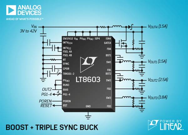 42V、四输出、三通道单片式同步降压型转换器和升压型控制器采用 3V 至  42V 输入工作